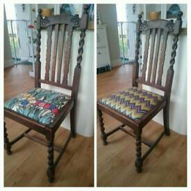2 x dining chairs with funky fabrics