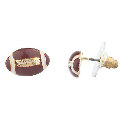 - Lux Accessories Gold Tone Brown White Enamel Football Sports Post Earrings