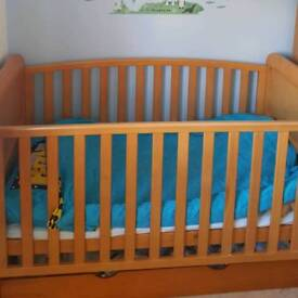 Cot bed, mattress and draw