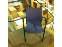 Violet reception chair with black plastic arms