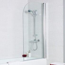Unik Bath Shower Straight Screen Radius Edge - only £65 - Special Offer.