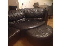 Brown round corner sofa