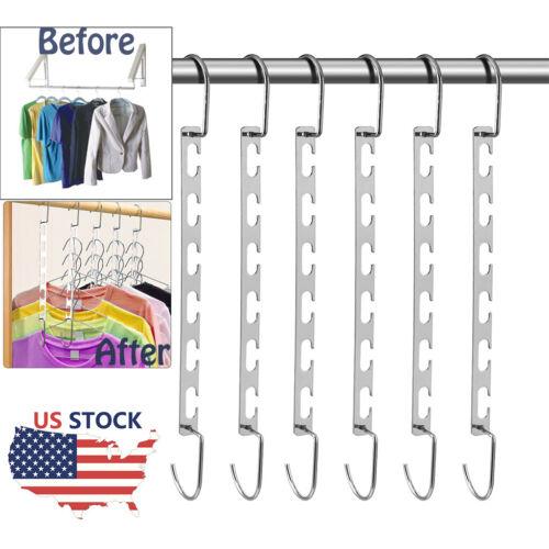 6x Metal Wonder Closet Hanger Organizer Hook Space Saving Clothes Rack NEW