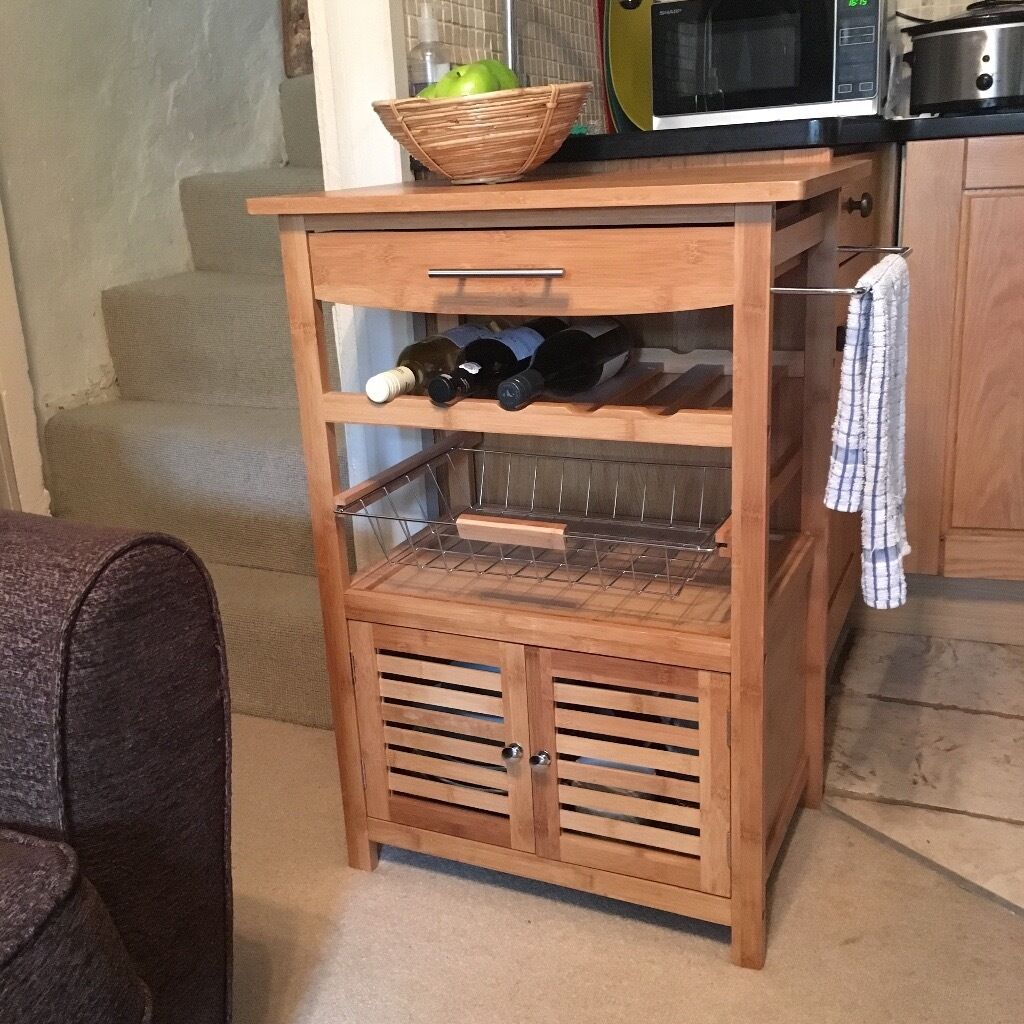 Kitchen Shelf Gumtree: Klarstein Bamboo Kitchen Trolley