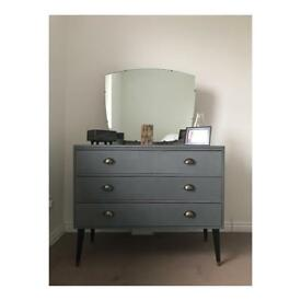 Vintage, retro, industrial, upcycled dressing table with drawers and mirror.