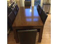 Solid wooden Dining table & 6 chairs