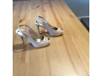 M&S Collection Ladies Patent Nude Heeled Peeped toe Sandals size 4