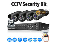 1080p CCTV Security Camera System Kit. 1TB, 4x Full HD 1080p Cameras, 8Ch Full HD 1080p DVR, Cables.