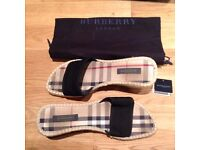 Womens Burberry Wedge Nova Check Sandals 100% Authentic UK4 Supplied with box