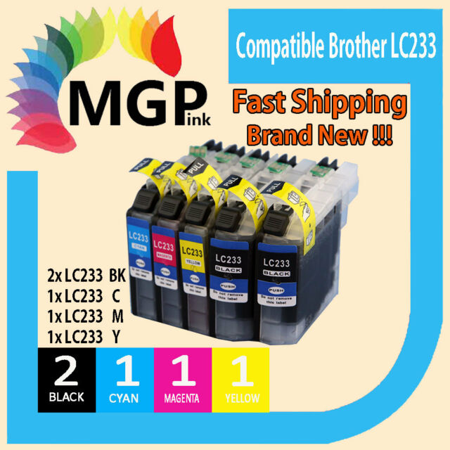 5x Generic Ink Cartridges LC233 BCMY for Brother MFC-J5320DW MFC-J5720DW