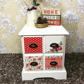 Girls bedroom bedside cabinet, shabby chic solid pine wood floral pattern
