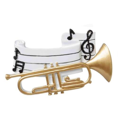 SCHOOL BAND MUSICAL INSTRUMENTS TRUMPET PERSONALIZE CHRISTMAS TREE ORNAMENT