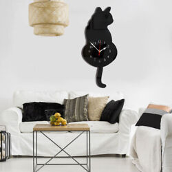 Decorative Acrylic Spooted Cat Wall Clock w/ Wagging Tail Home Decor-Black