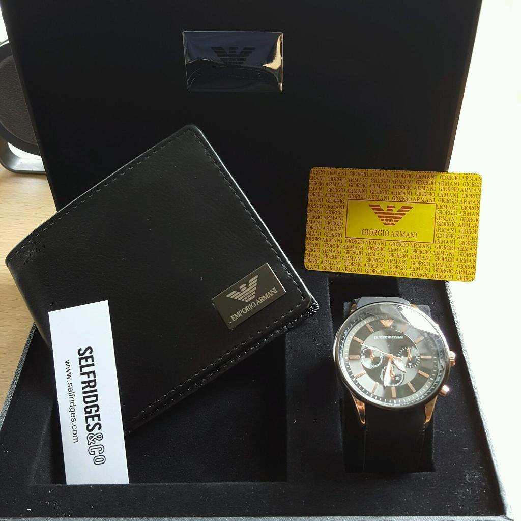 Perfect 2016 Gift Set Armani Watch With Wallet Set