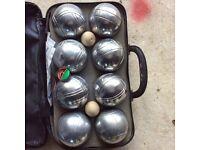 Authentic French silver colour metal pétanque set.