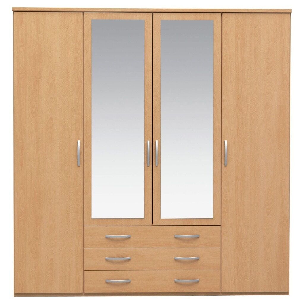 Beech colour 4 door 3 draw mirror wardrobes in Middleton  : 86 from www.gumtree.com size 1024 x 1024 jpeg 94kB