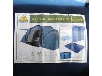 Family tent starter pack, 4 man tent, 1 double & 2 single sleeping bags, double airbed & 2 roll mats