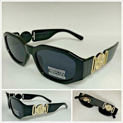 New CLASSIC HIP HOP RAPPER Style SUNGLASSES Black Frame Gold Medallion Dark (Black Sunglasses Gold Frame)