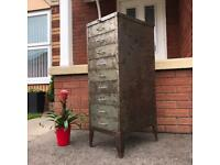 Industrial Steel Vintage Stor filing Cabinet Stripped & Waxed Office Bedroom Man Cave Shop Cafe
