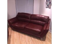 Selling this lovely red 3 seater sofa with chair and footstool in vgc