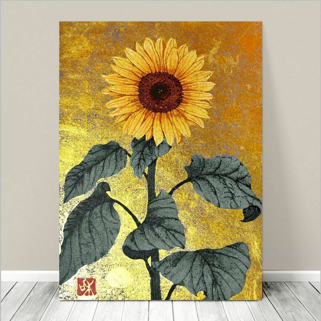 Beautiful Japanese Floral Art~CANVAS PRINT 8x12 Sunflower Painting ...