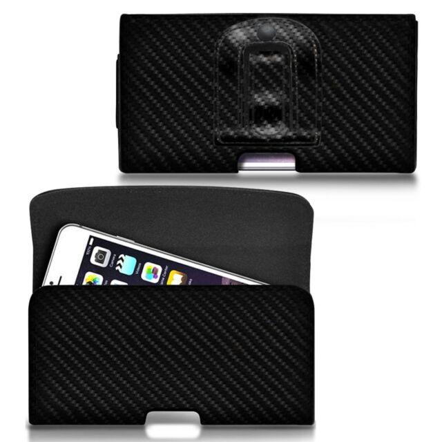 For Xiaomi Redmi 2 Prime Horizontal Carbon Fibre Belt Pouch Holster Case Cover