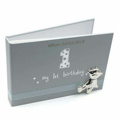 - Personalised Baby Boy First Birthday Photo Album With Teddy Icon 6x4