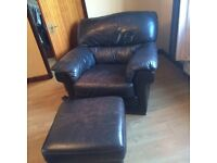 3 piece brown leather sofa with puffy