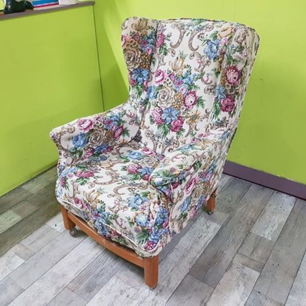 Floral Wingback Armchair For Reupholstery Project Can Deliver For 19 In Lancing West Sussex Gumtree