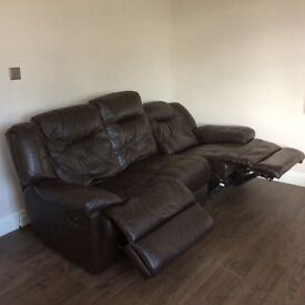 Leather walnut 3 seater power recliner sofas (2 available).