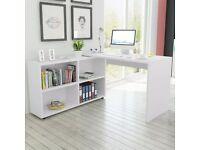 Corner Desk 4 Shelves White-243060