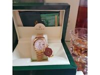 New gold with White pearl dial Rolex Datejust with sweeping chronograph stopwatch movement