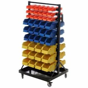 Rolling Industrial / Hobby 90 Bin Small Parts Tool Storage Shelf - brand new - FREE SHIPPING