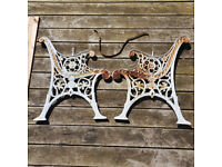 Vintage Cast Iron Garden Bench Ends And Slats For Renovation Project