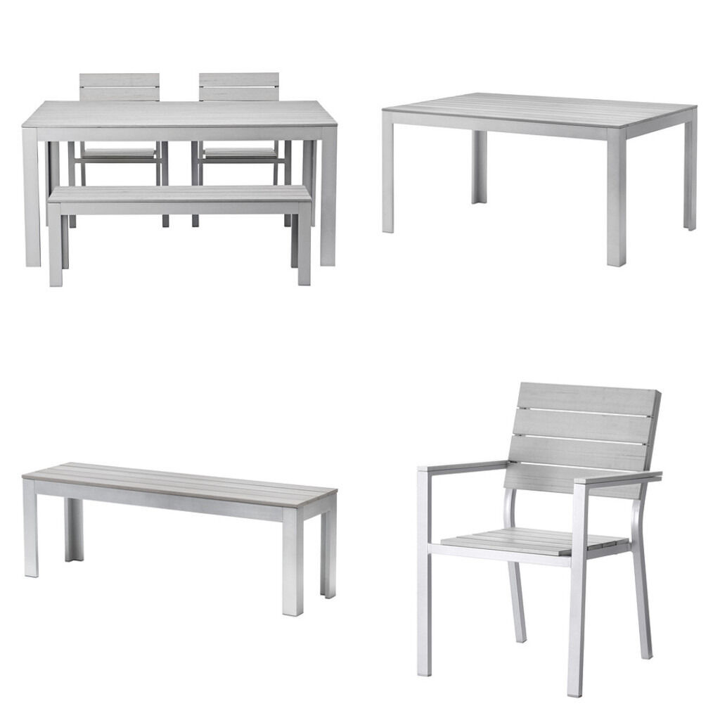 Delightful IKEA FALSTER Table And 2 Bench U0026 2 Chairs With Armrests In Grey Weather  Resistant