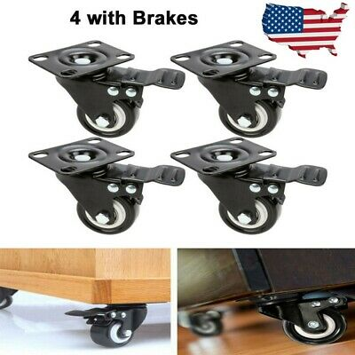 4 Pack Heavy Duty 2 Inch Caster Polyurethane Wheels With Brake Swivel Top Plate
