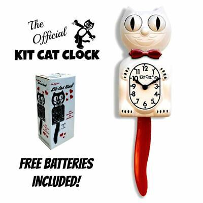 "CANDY CANE KIT CAT CLOCK 15.5"" Red White Kit-Cat Klock Free Battery Made in USA"
