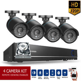 HD CCTV Security Camera Kit. 4x HD Cameras, HD DVR with Hard Drive, Cables. Full Kit