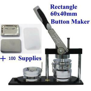 BEST QUALITY ALL METAL Button maker kit!! 60*40mm Badge Button Maker+ 100 Pin back Button 015370