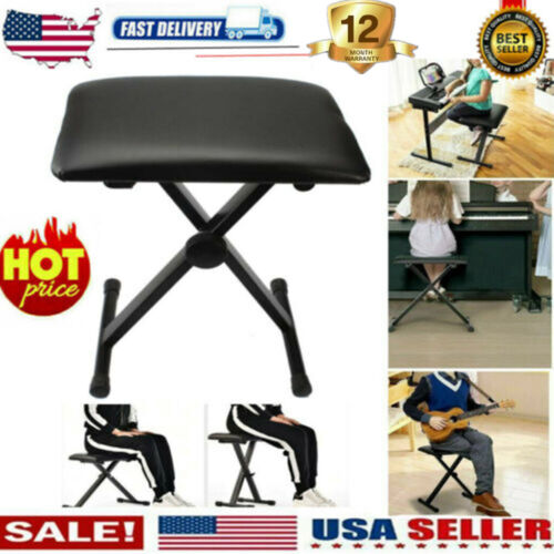 Folding Adjustable Piano Bench Leather Padded Keyboard Stool X-Shape Seat Chair