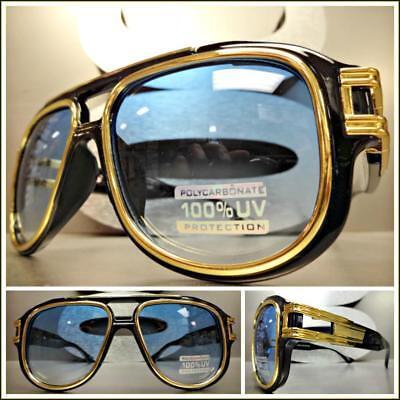 Übergröße Klassischer Retro-Stil Sonnenbrille Groß Breit Schwarz & Gold Rahmen