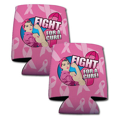 Set of 6 Breat Cancer Awareness Themed Koozies (3 Different Pink Ribbon - Breat Cancer Awareness