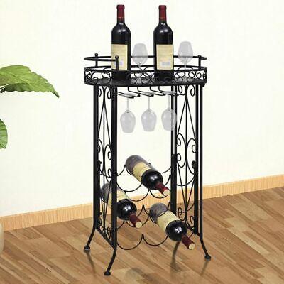 - vidaXL Wine Rack for 9 Bottles Metal Glass Holder Hooks w/ Table Plate Display