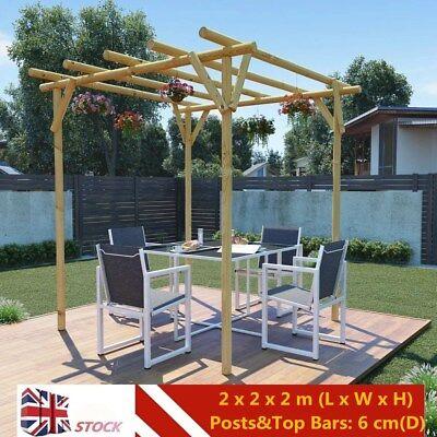 Wooden Pergola Impregnated Garden Arbour/Rose Arch Plant Climbing 2 x 2 x 2 m UK