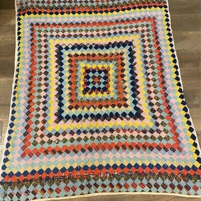 "Vintage Handmade Quilt Multicolor Geometric Handstitched Patchwork Full 76""x62"""