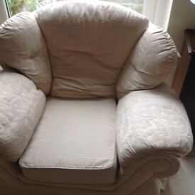Three piece suite for sale . Cream fabric . Armchair, two seater and three seater