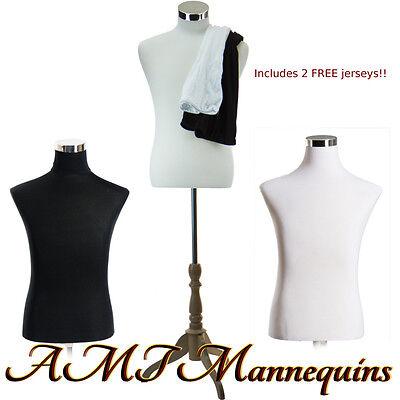 "18/38/32"" Male mannequin dressform+ stand,+2 jerseys, white/black torso-MF-102"