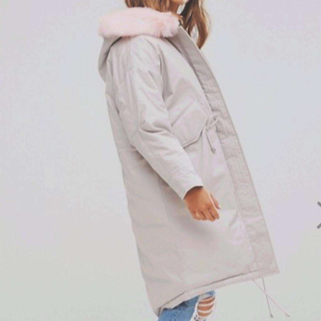 Petite Oversized Parka with Pink Faux Fur Hood