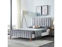 🔥STRONG QUALITY BED🔥 LUCY DOUBLE PLUSH VELVET GREY & CREAM COLOR AVAILABLE IN STOCK