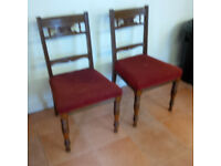 Mahogany Dining Chairs with Fabric Seating.